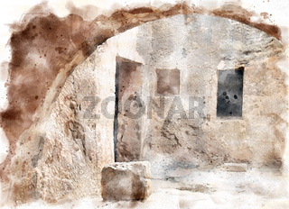 watercolor painting of underground arch and doorway at the tomb of the kings in paphos cyprus looking like an ancient stone street