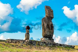Ahu Tahai and Ahu Ko Te Riku in the archaeological site of Tahai on Easter Island