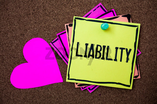 Text sign showing Liability. Conceptual photo State of being legally responsible for something Responsibility Multi colour small sticky boarder notice board thumb pinned heart display.