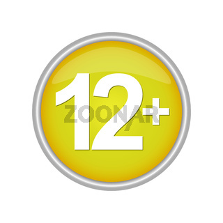 Round colored button indicating the age restriction 12+