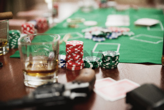 Playing chips on game table (ancient version)