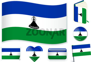 Lesotho flag in seven shapes. Editable with separate layers.