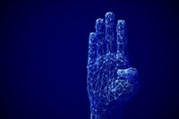 Machine learning concept: digital arm raised up to ask a question.