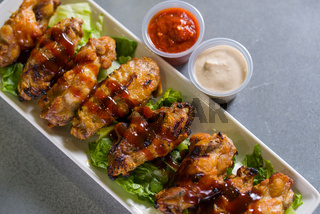 Close up shot of chicken wings
