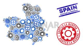 Wheel Mosaic Vector Castile-La Mancha Province Map and Grunge Seals