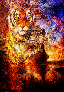 Viking Boat on the beach with wood dragon and Tiger head, and Ancient Mayan Calendar, abstract color Background, computer collage, Eye contact.