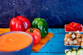 View of gazpacho, a typical Spanish meal