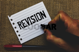 Conceptual hand writing showing Revision. Business photo showcasing Rechecking Before Proceeding Self Improvement Preparation Marker pen inspiration nice ideas small pitch art paper mat.