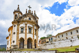 Ancient historical catholic church with colonial style in the city of Ouro Preto