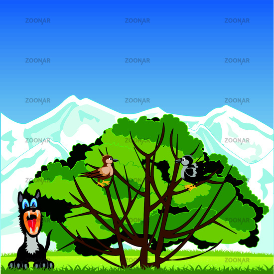 Tree with bird and animals on glade