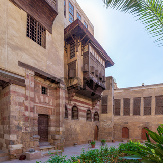 Courtyard of El Razzaz Mamluk era historic house, Darb Al-Ahmar district, Old Cairo, Egypt