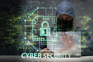 Young hacker in cybersecurty concept