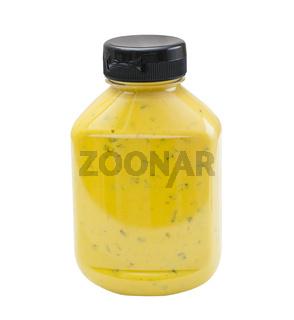 Jalapeno Mustard bottle on white background