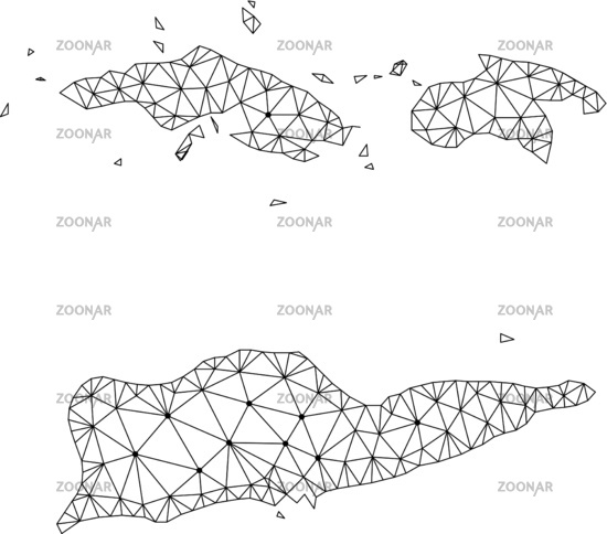 Photo Polygonal Network Mesh Vector Map of American Virgin Islands ...