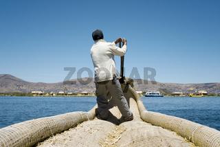 Reed Boatman of Lake Titicaca, Uros Islands, Peru