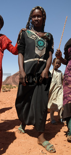 Portrait of Toubou, or Tubu woman in the Demi village , Fada, Ennedi, Chad