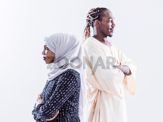 portrait of  young african muslim couple