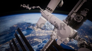 A view of the Earth and a spaceship. ISS is orbiting the Earth