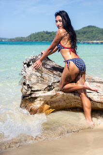 attractive woman in bikini on the withered trunk over the sea