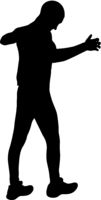 Black silhouettes man with arm raised on a white background