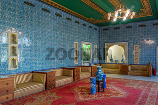 Manial Palace of Prince Mohammed Ali. Blue tiled hall at the residence of the prince's mother, Cairo, Egypt