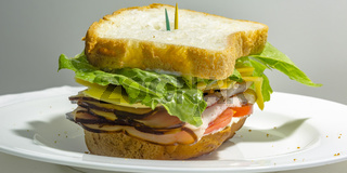 Succulent deli sandwich with thick filling