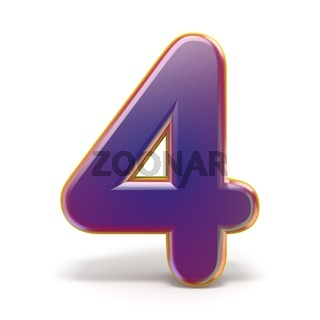 Number FOUR 4 purple font yellow outlined 3D