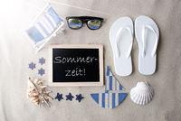 Sunny Blackboard On Sand, Sommerzeit Means Summertime