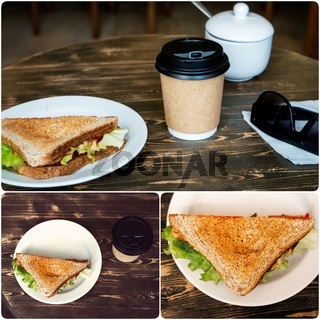 Lunch with triangle sandwich, takeaway coffee and sunglasses on old wooden table