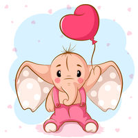Cute elephant with pink balloon.