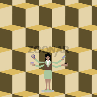 Woman in Business Suit Standing with Four Arms Exending Sideways. Businesswoman with 4 Limbs Holding Workers Stuff. Creative Background Idea for Hardworking People and Labor Issue.