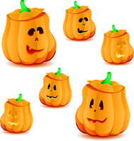 Set of halloween pumpkins with variations of illumination, part 24