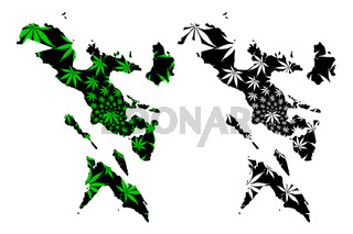 Bicol Region (Regions and provinces of the Philippines, Republic of the Philippines) map is designed cannabis leaf green and black, Ibalong (Region V) map made of marijuana (marihuana,THC) foliage