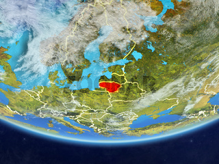 Lithuania from space on Earth