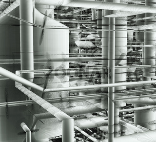 Pipes And Ventilation System Inside An Industrial Building