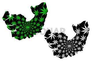 Delta State (Subdivisions of Nigeria, Federated state of Nigeria) map is designed cannabis leaf green and black, Delta map made of marijuana (marihuana,THC) foliage